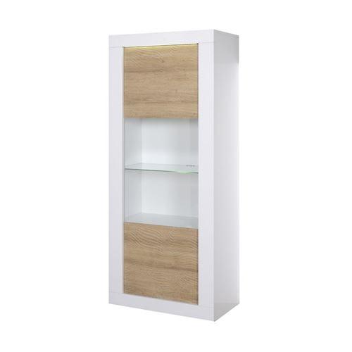 Vitrine 1 porte Blanc/Chêne clair à LEDs - MARKS