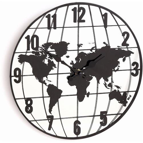 Sil - Horloge effet miroir mappemonde 30 cm