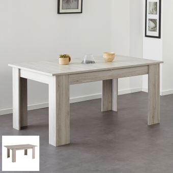 Table Avec Allonge Centrale 190x101x76cm Coloris Chene Grise