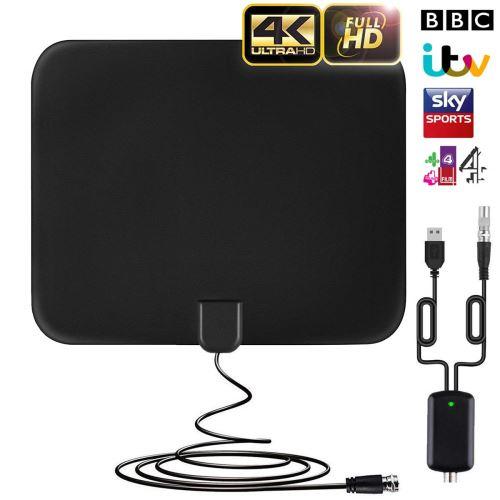 Antenne TV Intérieur Puissante Amplifiée 50+ Miles Range Numérique avec Signal Amplificateur Booster