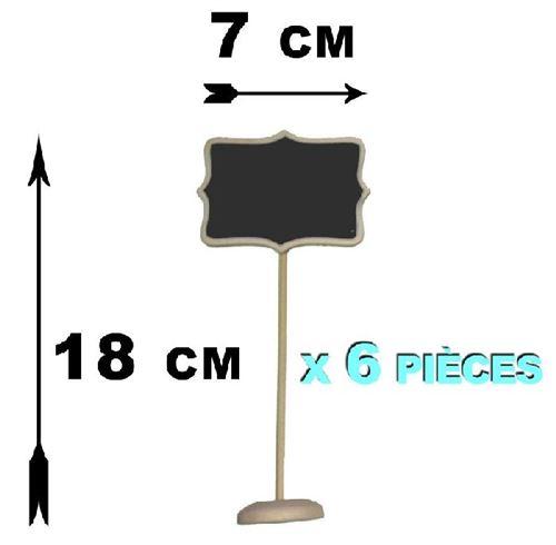6 Marque-places ardoise menu bois luxe 8 x 6 cm