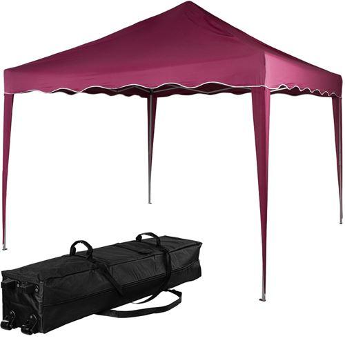 Structure de tonnelle pliante 3x3m acier , couleur rouge, avec sac de transport à roulettes - INSTENT