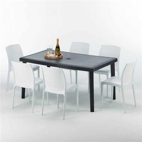Grand Soleil - Table rectangulaire et 6 chaises Poly rotin colorées 150x90cm noir Enjoy, Chaises Modèle: Boheme Blanc