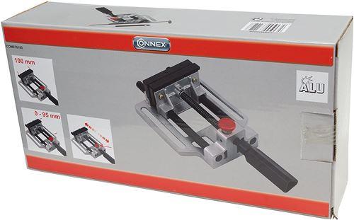Connex COM870100 Étau pour machines avec verrouillage rapide en aluminium, Argent/Noir/Rouge, 100mm