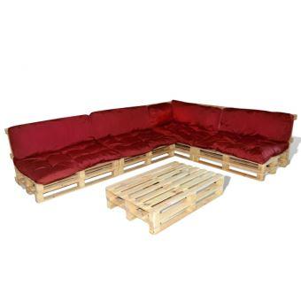 Casasmart - Ensemble salon de jardin en palette coussins rouge ...