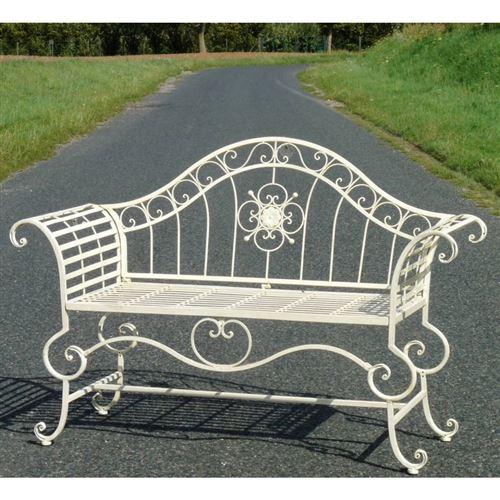 L'Héritier Du Temps - Banc style dagobert banquette fauteuil mobilier de jardin assise exterieur 3 places en fer blanc 57x93x144cm