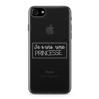 Coque iPhone 7 Je suis une princee Taille iPhone 7 Souple Transparente Encre Blanc
