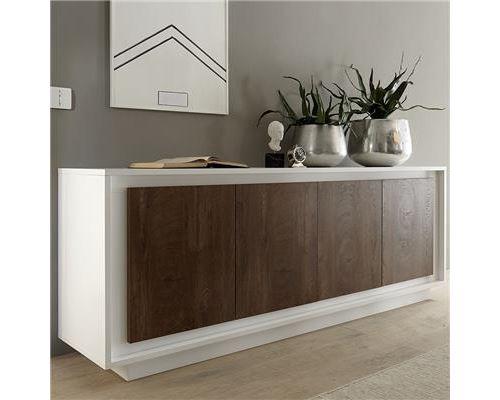 bahut blanc laqué mat et couleur bois MALT - Blanc - L 207 x P 50 x H 80 cm