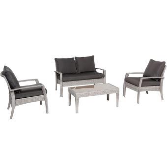 Salon de jardin avec 2 fauteuils, 1 canapé 2 places et 1 table basse ...
