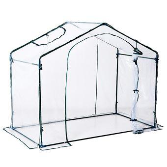 Serre de jardin balcon terrasse serre pour tomates 1,8L x 1,05l x 1,65H m  acier PVC imperméable anti-UV transparent vert