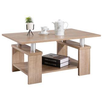 Table basse de salon PERCY table d\'appoint rectangulaire avec tablette  inférieure, décor chêne sonoma