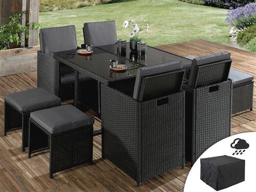 Sophia - Salon de jardin encastrable 8 places - en résine tressée - Noir avec coussins gris + Housse de protection Couleur - Noir