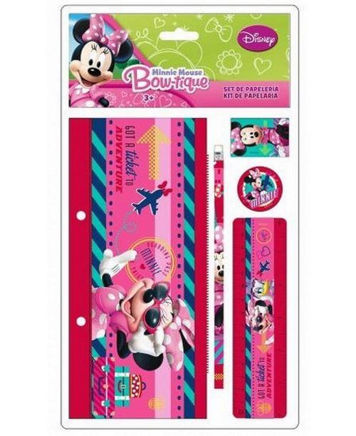 Set Papeterie 5 Pcs Minnie Mouse Trousse Regle Crayon Gomme Disney Scolaire