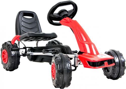 HyperMotion Go Kart à Pédales Enfant 3 à 6 ans Frein à Main 2 Modes de Conduite Avant & Arrière - Rouge