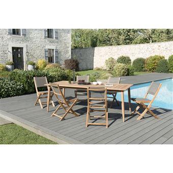 Salon de jardin teck teinté: 1 table à manger pieds scandi 220*100cm + 3  lots de 2 chaises pliantes textilène taupe