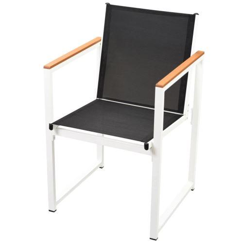 5 pcs Salon de Jardin Aluminium WPC Mobilier d\'extérieur 1 Table + 4 Chaises