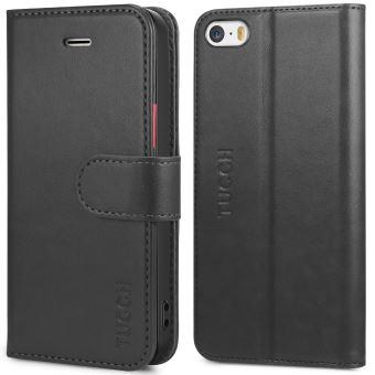 TUCCH Coque iPhone SE, Etui iPhone 5S, Housse TPU en Cuir Portefeuille de Protection avec Support pour iPhone 5 - Noir avec Rouge