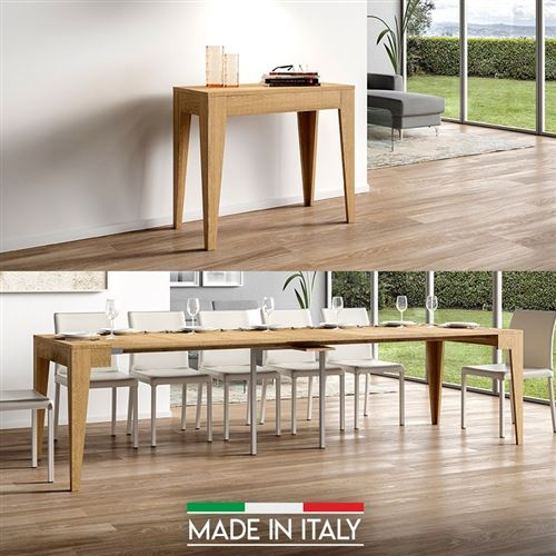 Table Console extensible Isotta Bois - Chêne Nature - 5 Rallonges