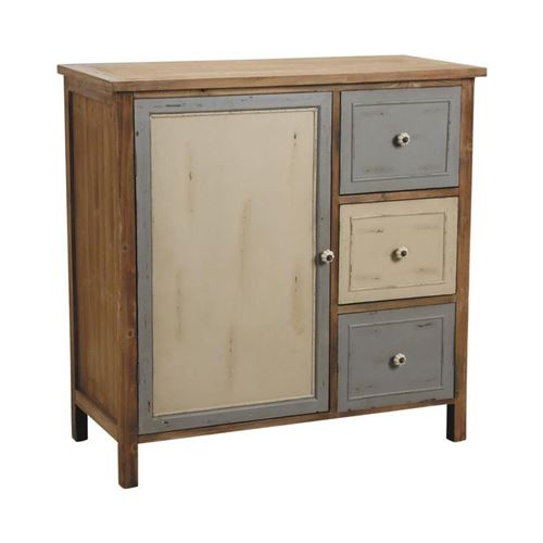 Aubry Gaspard - Commode 1 porte 3 tiroirs en pin Antique