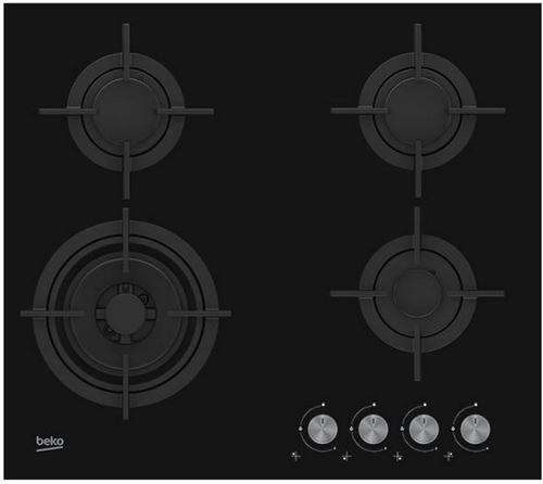 Beko HILW64222S - Table de cuisson au gaz - 5 plaques de cuisson - Niche - largeur : 56 cm - profondeur : 48 cm - noir - noir