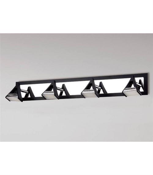 Spot Filippo 4 Ampoules LED 20W 3000K, 1750lm, noir mat/chrome poli