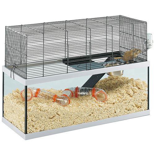 Ferplast Cages pour gerbilles GABRY 80 Petits rongeurs, structure à 2 étages, accessoires inclus, cuve en verre et grillage en métal vernis Noir, 79 x 30,5 x h 51,4 cm