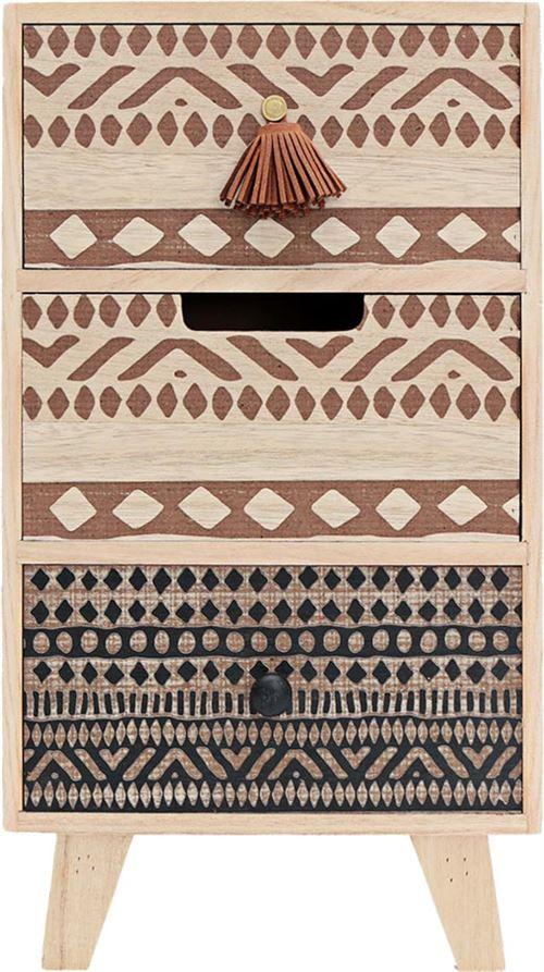 Sil - Petit rangement 3 tiroirs motifs ethniques