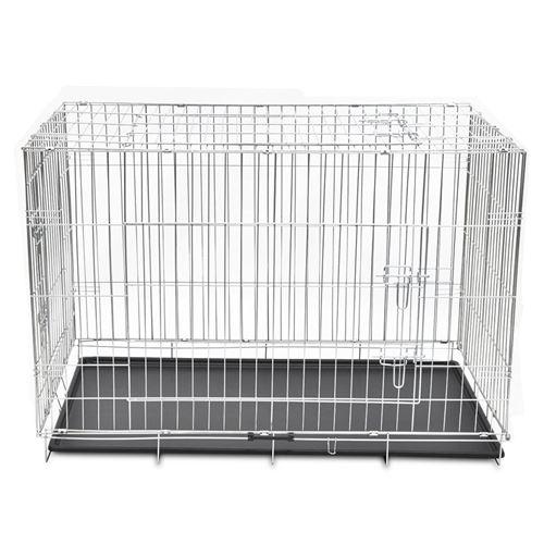 Cage en métal pliable pour chien acier galvanisé 121 x 74 x 83 cm