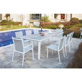 Moniga 8   Table De Jardin Extensible 8 Personnes Avec 2 Fauteuils Et 6  Chaises En Aluminium - Mobilier de Jardin - Achat   prix   fnac 17ae9a02b76c