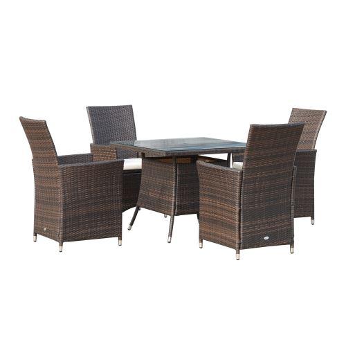 Ensemble salon de jardin 4 fauteuils avec coussins assise + ...