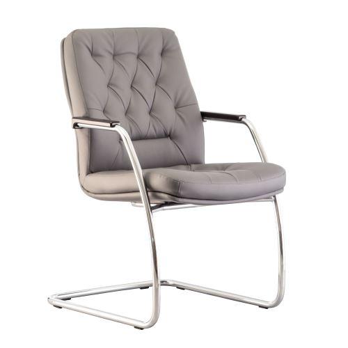 Fauteuil vintage, siège de conférence capitonné chester. gris.