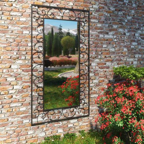 Miroir Mural de Jardin Rectangulaire de Style Antique 60 x 110 cm Noir Modèle 2