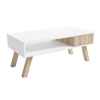 vero bois table basse effet ch ne claire blanche matte. Black Bedroom Furniture Sets. Home Design Ideas