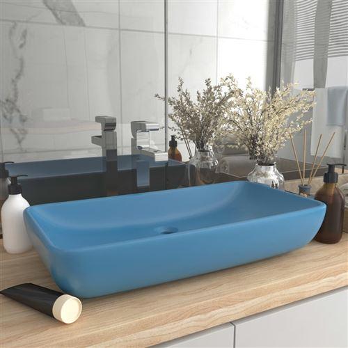 Chunhe Lavabo de luxe rectangulaire Bleu clair mat 71x38 cm Céramique AB146956