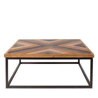 Table Basse Design Carre 81x81cm Joy Couleur Bois Metal