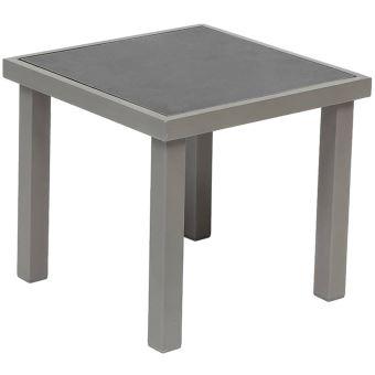 Table d\'appoint coloris taupe en Aluminium et verre trempé ...