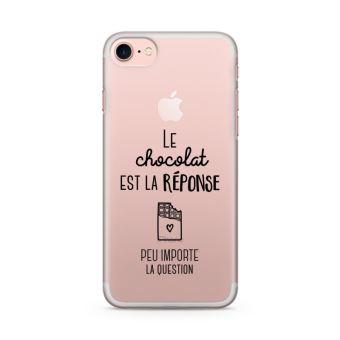 Coque iPhone 7 Le chocolat est la reponse Taille iPhone 7 Souple Transparente Encre Noir