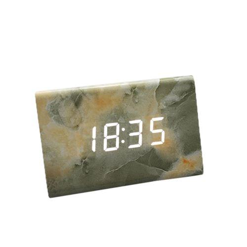 Commande Vocale Calendrier Thermomètre Numérique Led Alarme Horloge en Bois Usb / Aaa Vert PL564