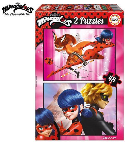 LadyBug Miraculous Puzzle double 2x48 pièces