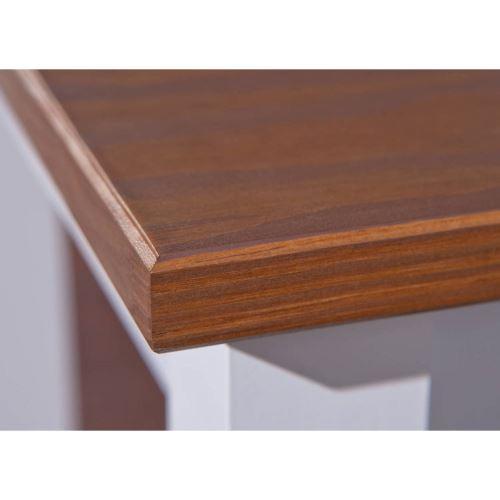 Table rectangulaire - Marron et blanc