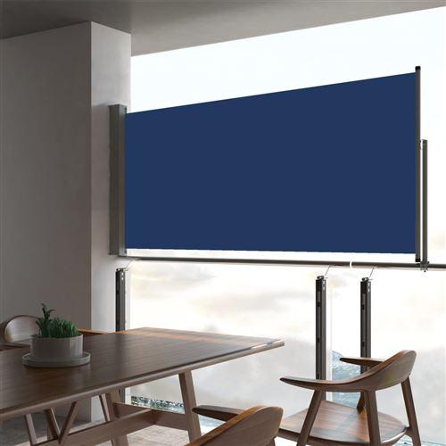 Auvent latéral rétractable de patio 60x300 cm Bleu