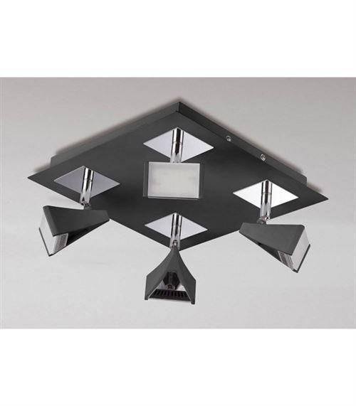 Spot Filippo 4 Ampoules LED carré 20W 3000K, 1750lm, noir mat/chrome poli