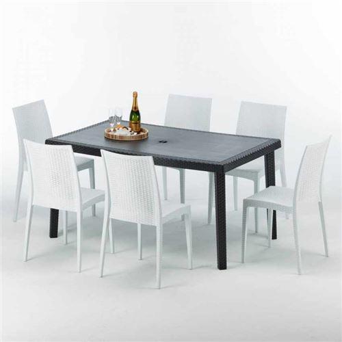 Grand Soleil - Table rectangulaire et 6 chaises Poly rotin colorées 150x90cm noir Enjoy, Chaises Modèle: Bistrot Blanc