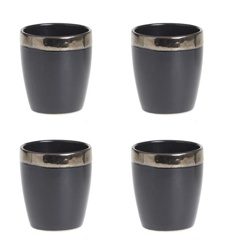 4 Tasses à expresso design Jungle Africa - 110 ml - Noir