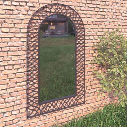 Miroir Mural de Jardin Mirror de Décoration de Style Antique Miroir Mural Extérieur 60 x 110 cm Noir