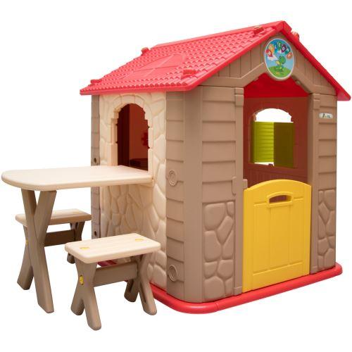 LittleTom Maison de Jeu de jardin en plastique Maisonnette pour Enfants incl 1 table 2 bancs Marron