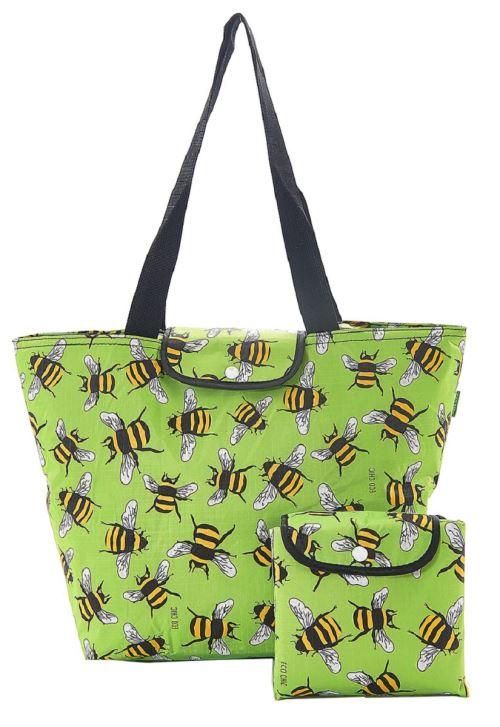 Grand sac isotherme pliable Eco Chic - Abeilles vertes