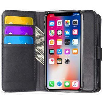 Apple iphone x iPhone 10 Houe Coque Etui cuir veritable de luxe Portefeuille Porte Carte Et Billet avec bequille Noir