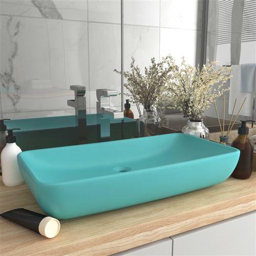 Chunhe Lavabo de luxe rectangulaire Vert clair mat 71x38 cm Céramique AB146958