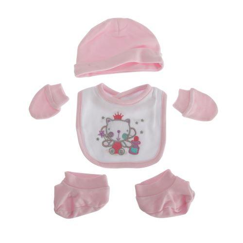 Nursery Time - Ensemble 4 pièces design chat - Bébé fille (Taille unique) (Rose) - UTBABY1395